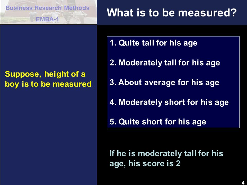 What is to be measured 1. Quite tall for his age
