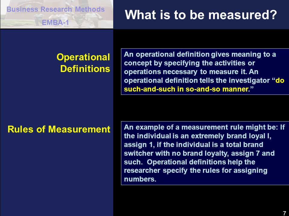 What is to be measured Operational Definitions Rules of Measurement