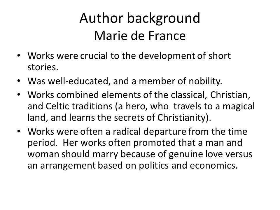 Author background Marie de France