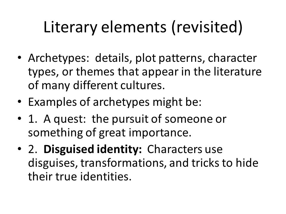 Literary elements (revisited)