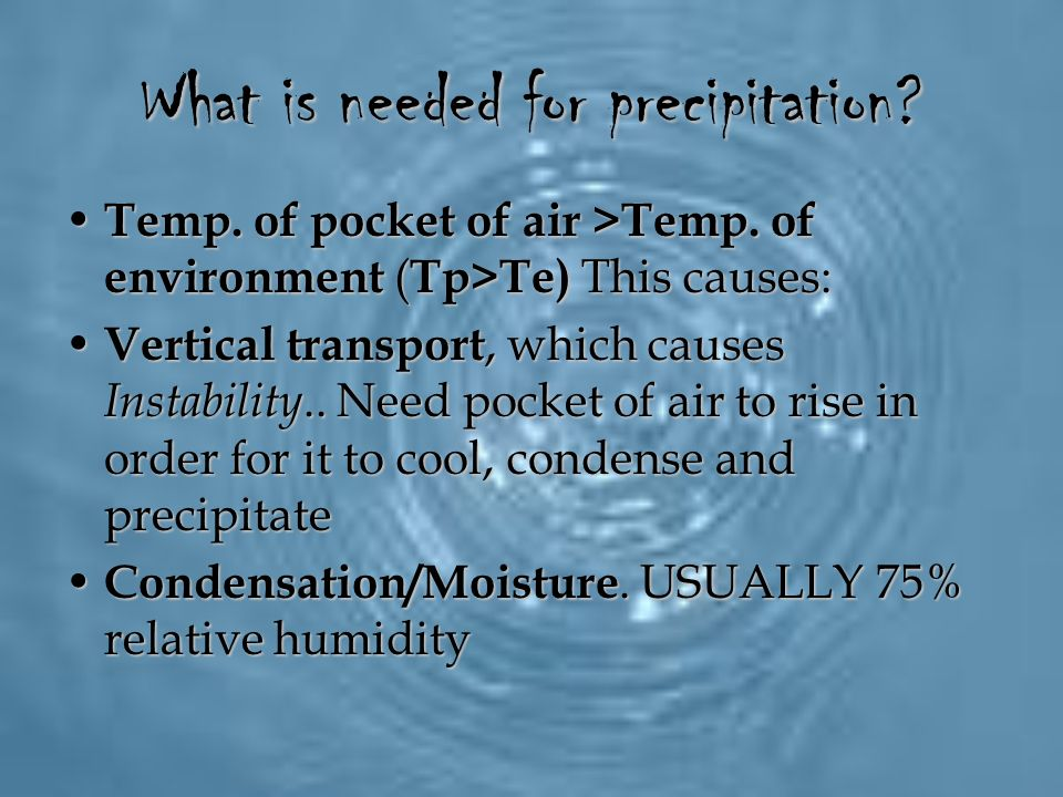 What is needed for precipitation
