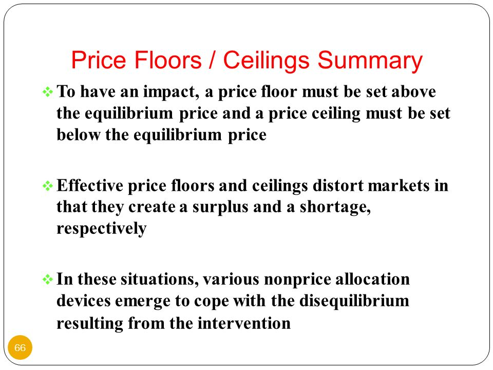 Price Floors / Ceilings Summary
