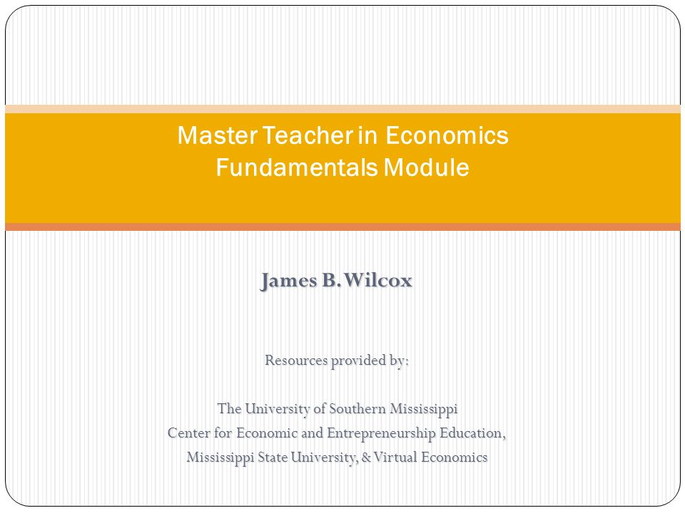 Master Teacher in Economics Fundamentals Module