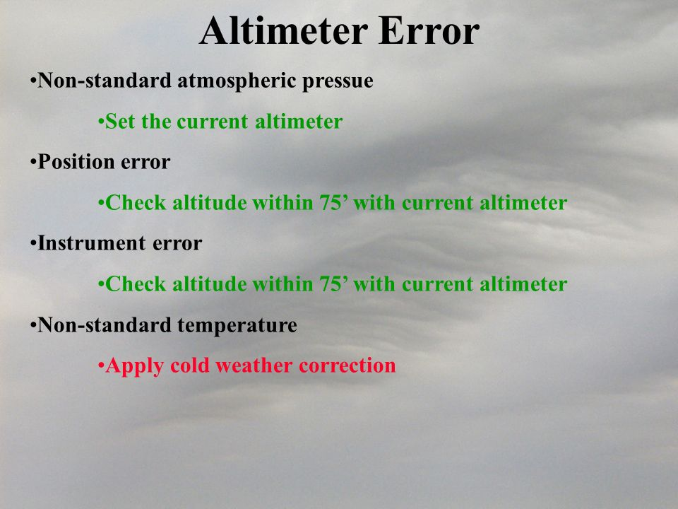 Altimeter Error Non-standard atmospheric pressue