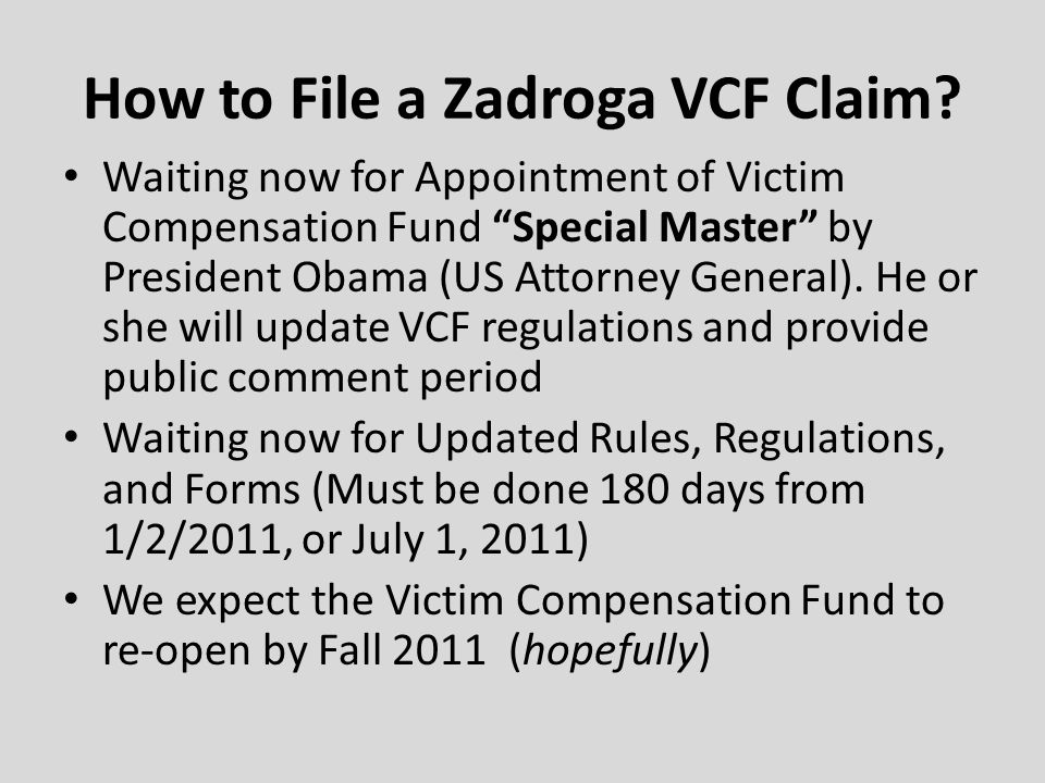 How to File a Zadroga VCF Claim