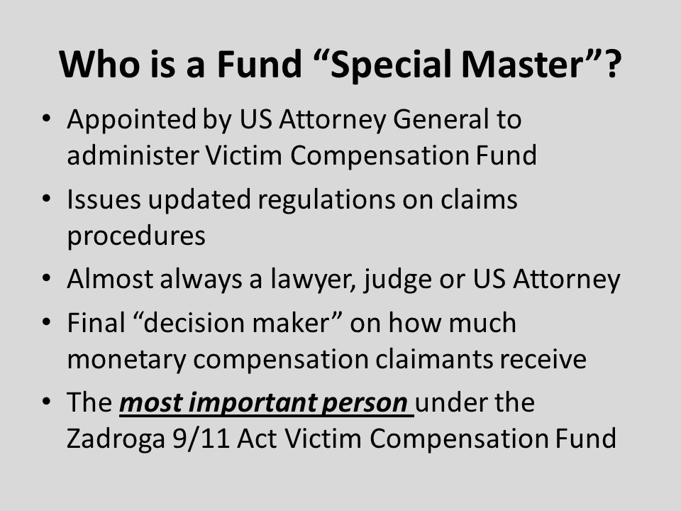 Who is a Fund Special Master
