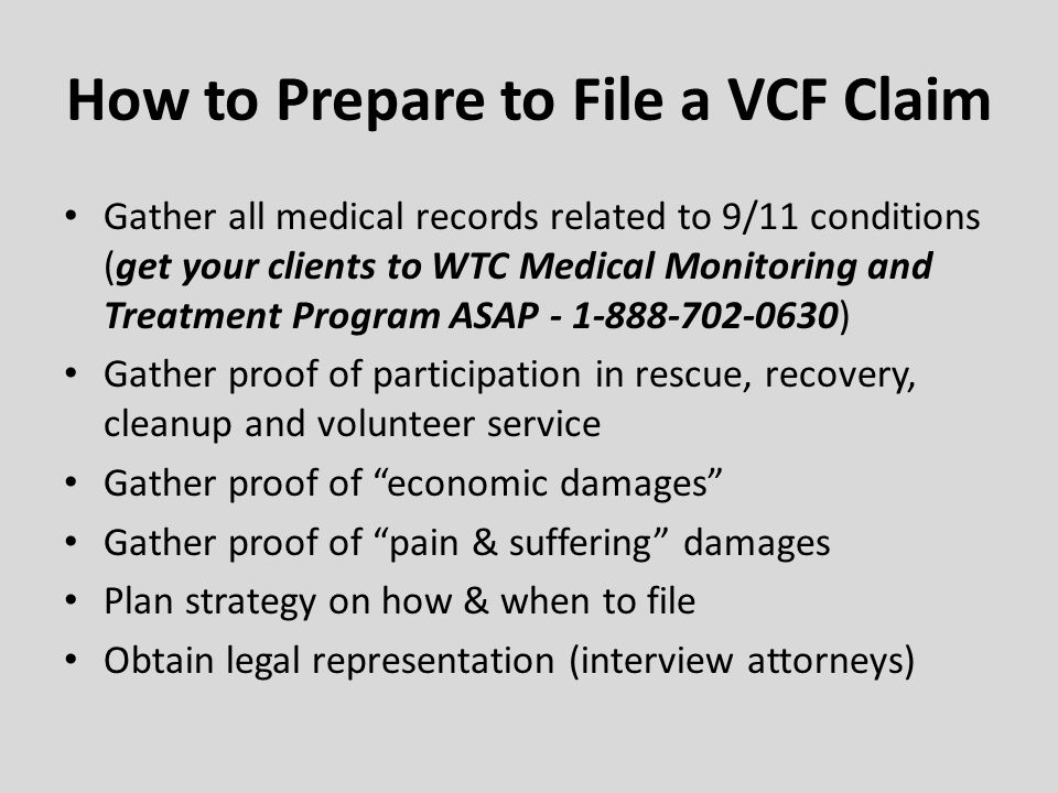How to Prepare to File a VCF Claim