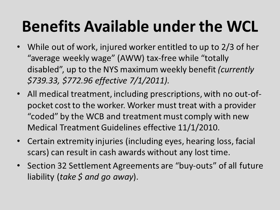 Benefits Available under the WCL