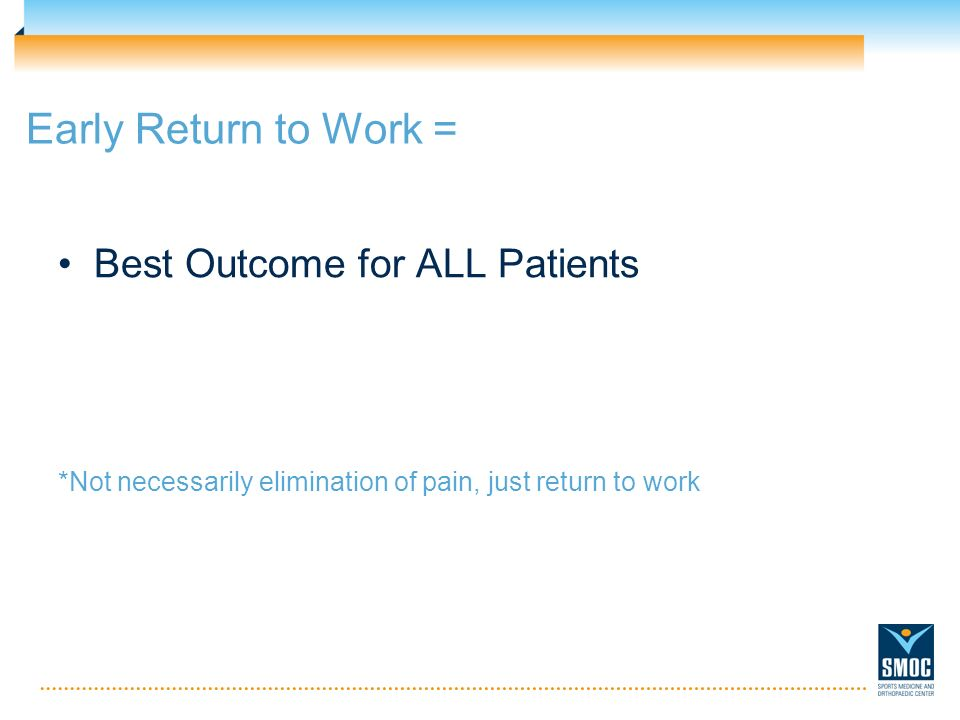 Early Return to Work = Best Outcome for ALL Patients