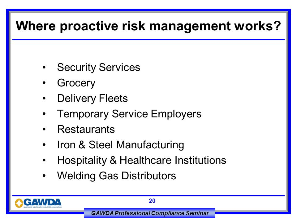 Where proactive risk management works