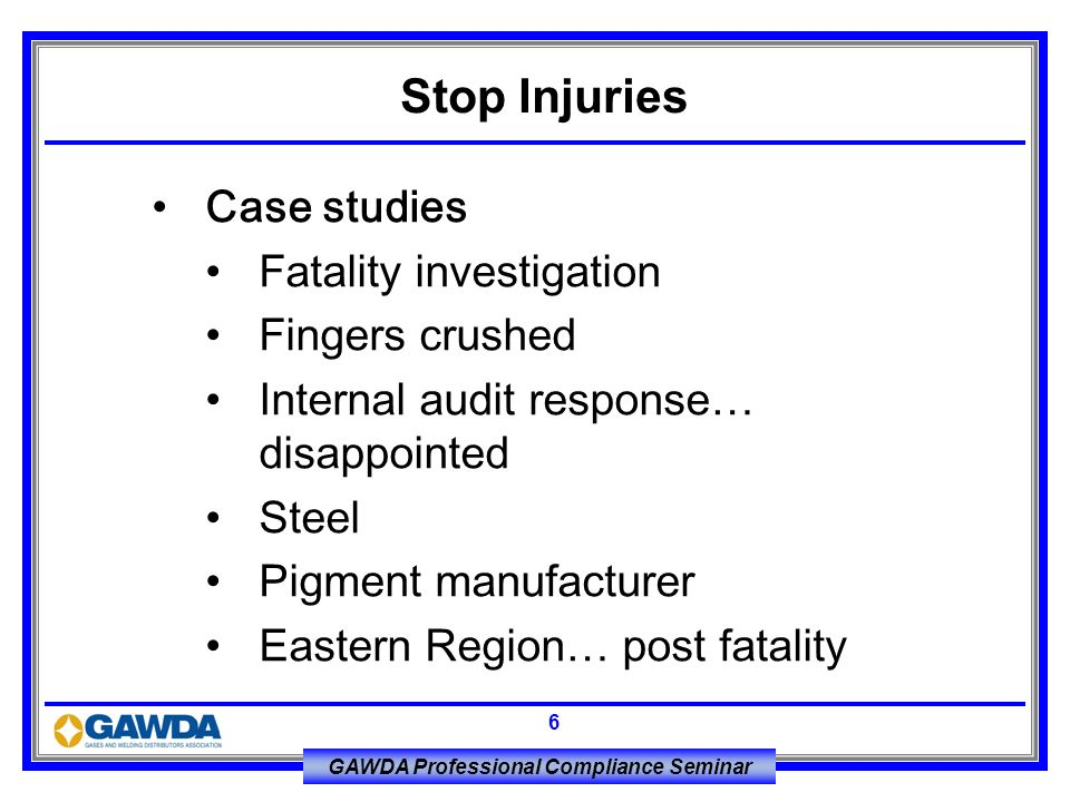 Stop Injuries Case studies Fatality investigation Fingers crushed