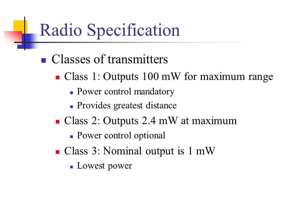 Radio Specification Classes of transmitters