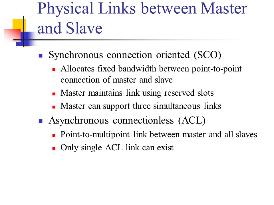 Physical Links between Master and Slave