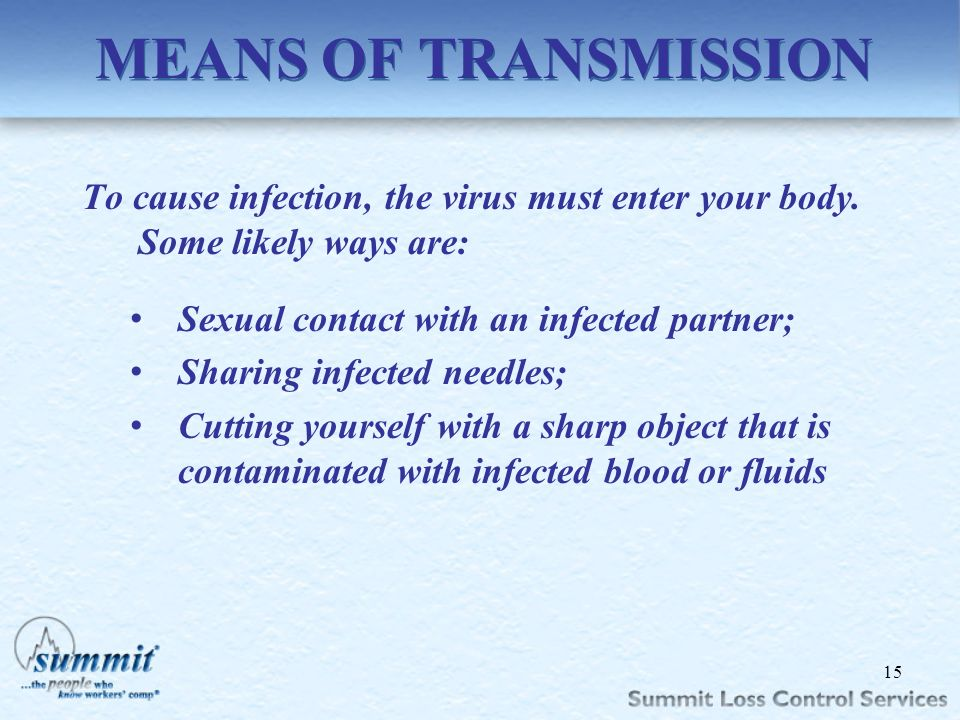 MEANS OF TRANSMISSION To cause infection, the virus must enter your body. Some likely ways are: Sexual contact with an infected partner;