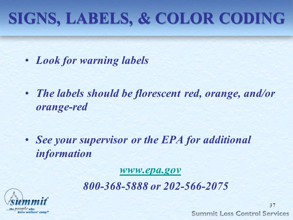 SIGNS, LABELS, & COLOR CODING