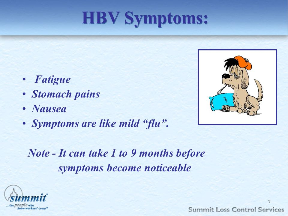 HBV Symptoms: Fatigue Stomach pains Nausea