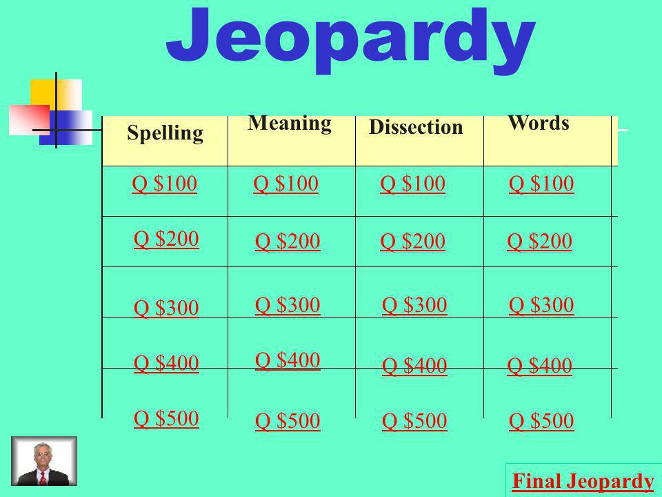 Jeopardy Dissection Spelling Meaning Words Q $100 Q $100 Q $100 Q $100