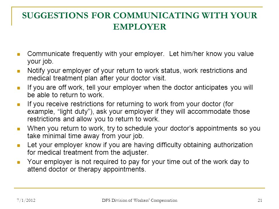 SUGGESTIONS FOR COMMUNICATING WITH YOUR EMPLOYER