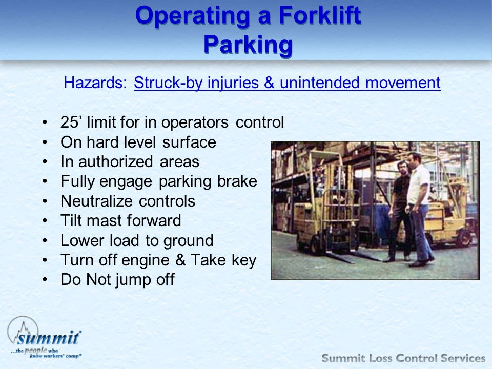 Operating a Forklift Parking