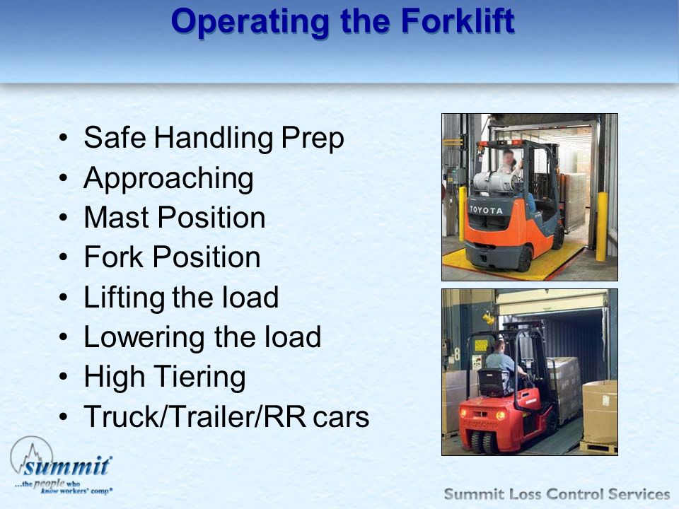 Operating the Forklift