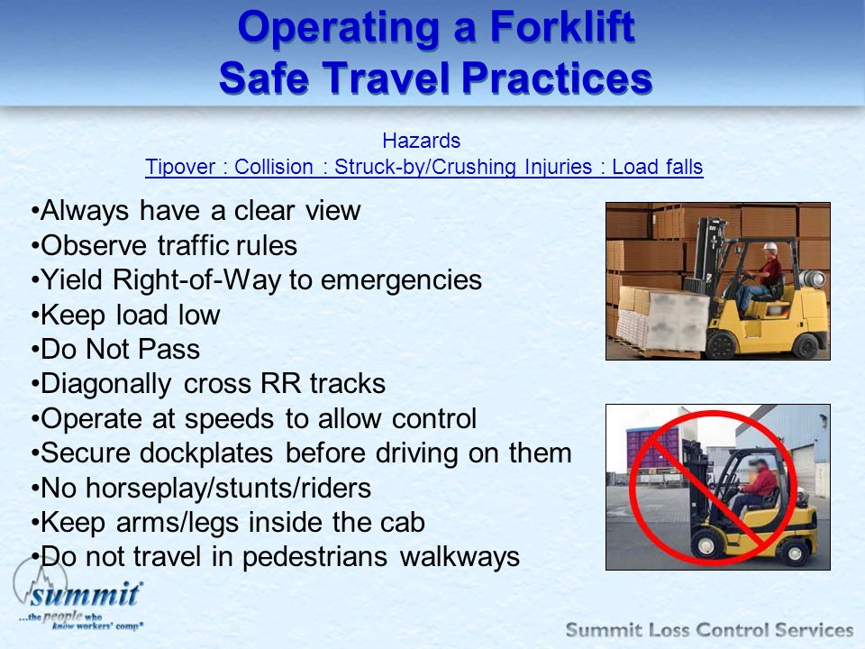 Operating a Forklift Safe Travel Practices