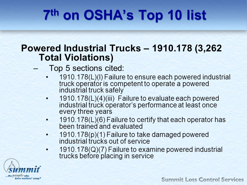 7th on OSHA's Top 10 list Powered Industrial Trucks – 1910.178 (3,262 Total Violations) Top 5 sections cited: