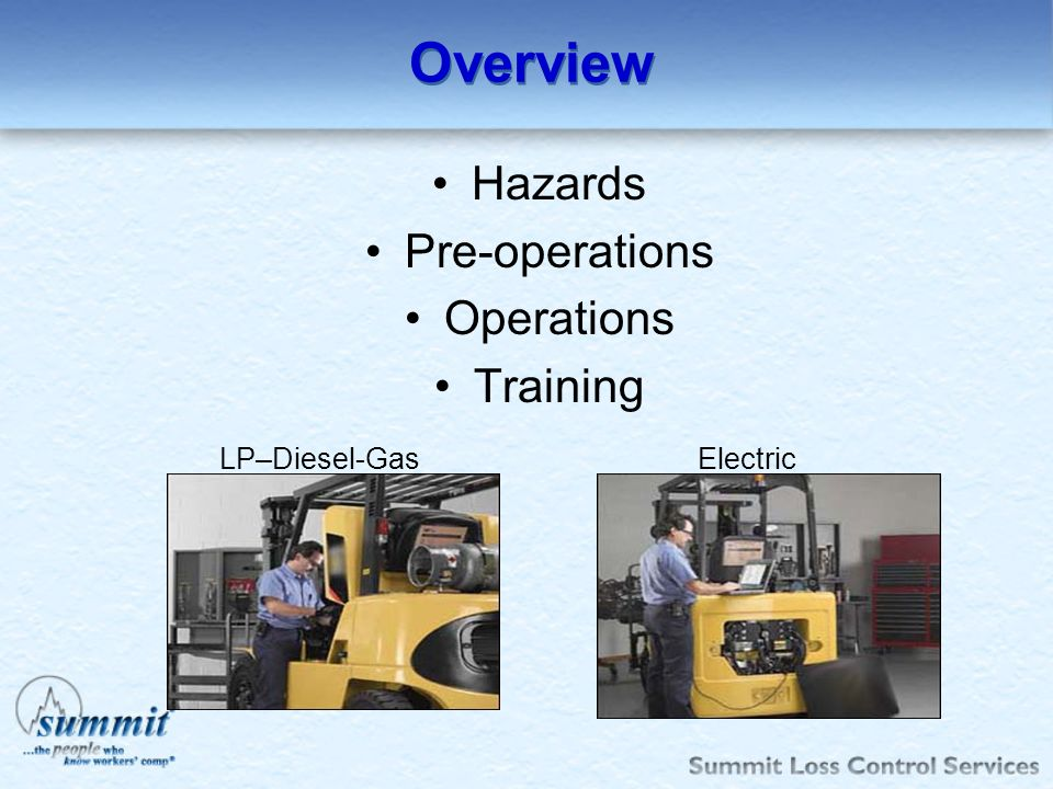 Overview Hazards Pre-operations Operations Training