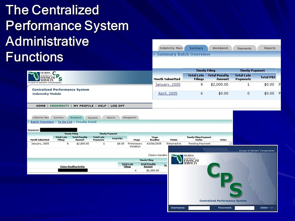 The Centralized Performance System Administrative Functions