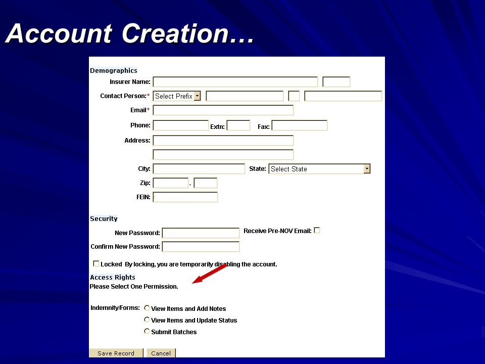Account Creation…