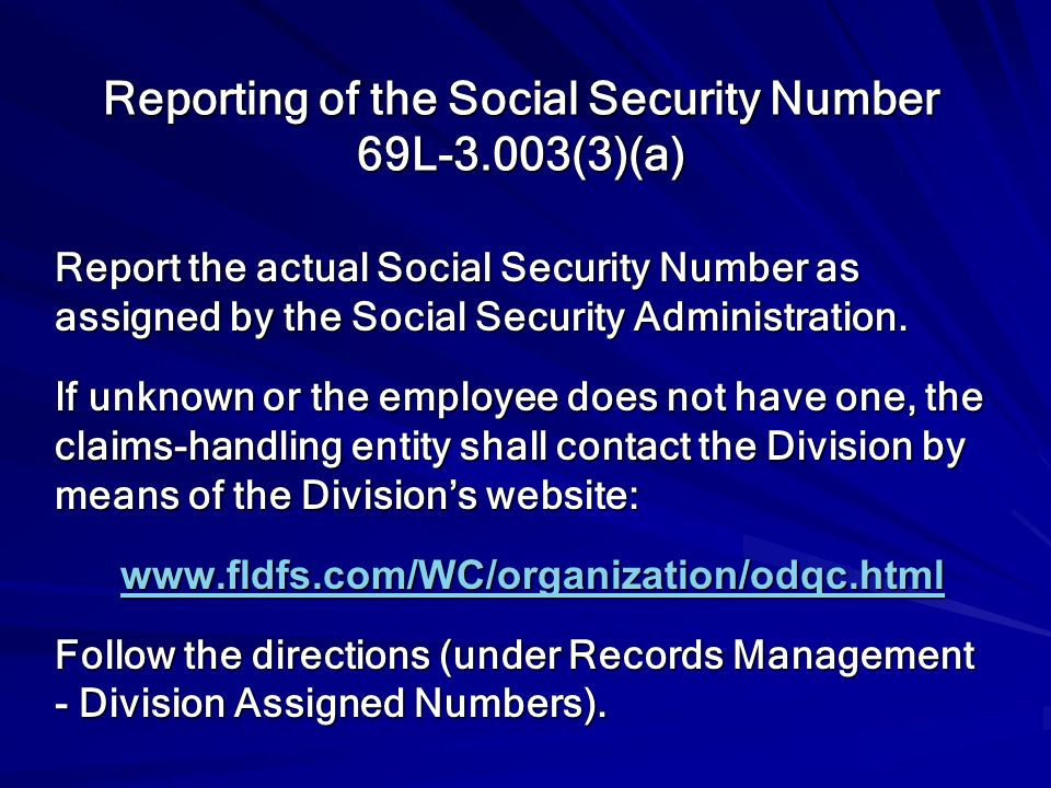 Reporting of the Social Security Number 69L-3.003(3)(a)