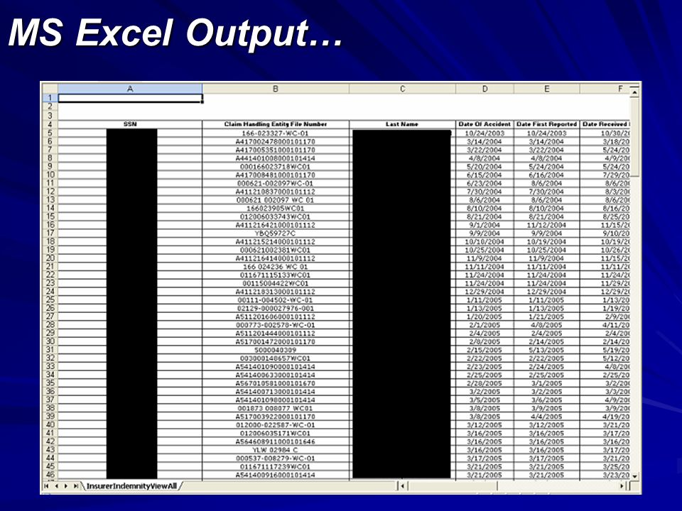 MS Excel Output…