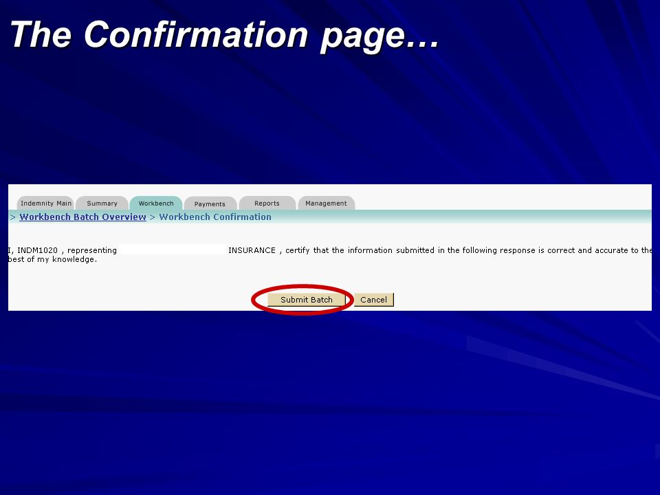 The Confirmation page…