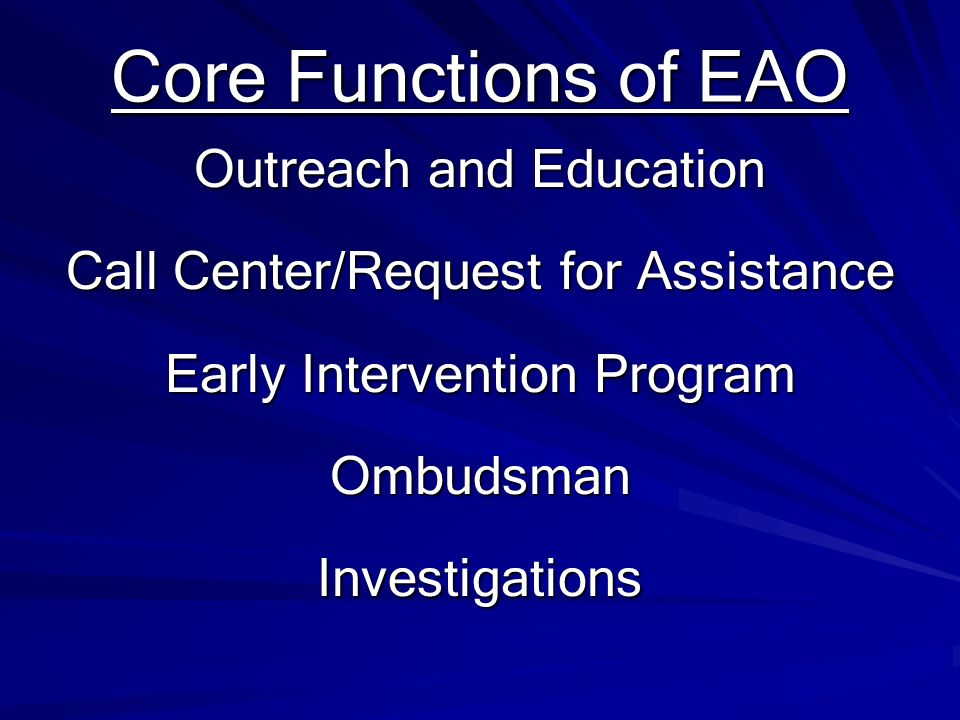 Core Functions of EAO Outreach and Education
