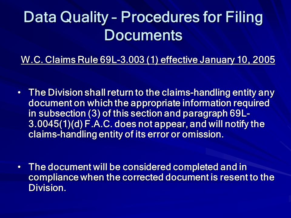 Data Quality – Procedures for Filing Documents