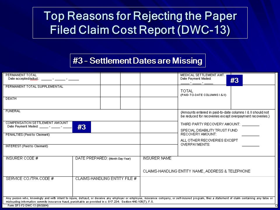 Top Reasons for Rejecting the Paper Filed Claim Cost Report (DWC-13)