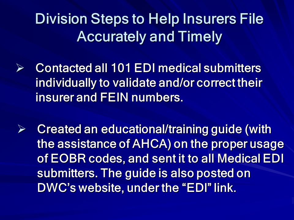 Division Steps to Help Insurers File Accurately and Timely