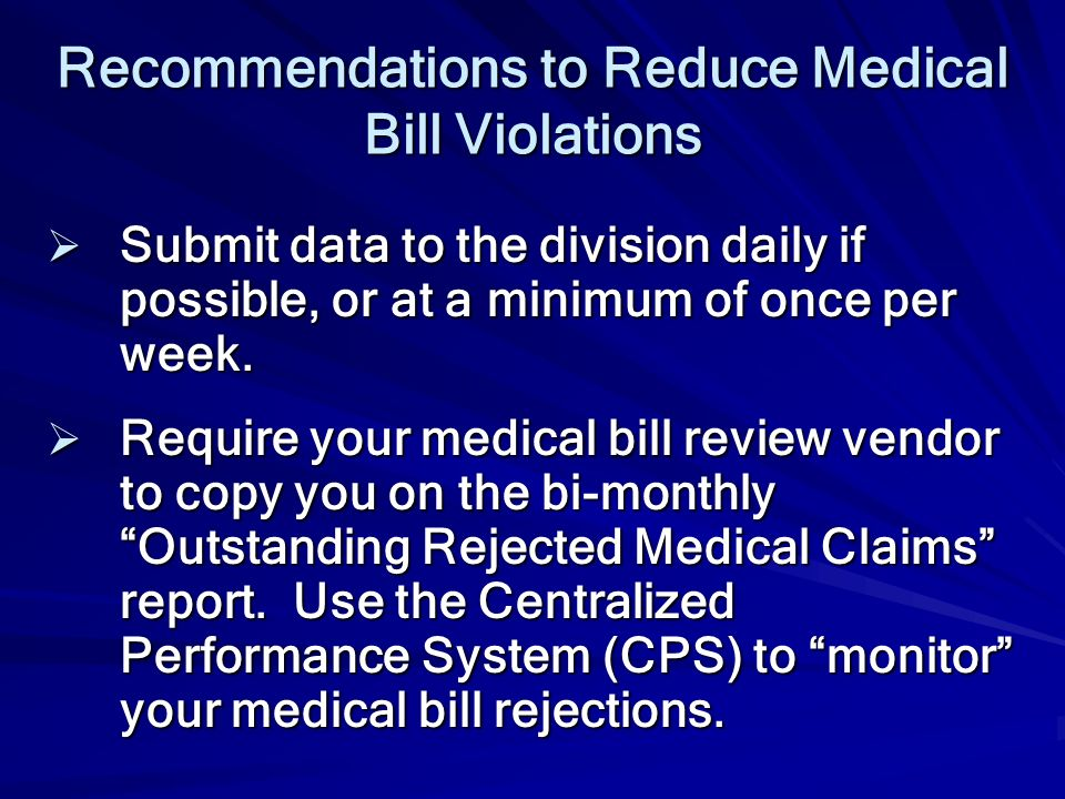 Recommendations to Reduce Medical Bill Violations