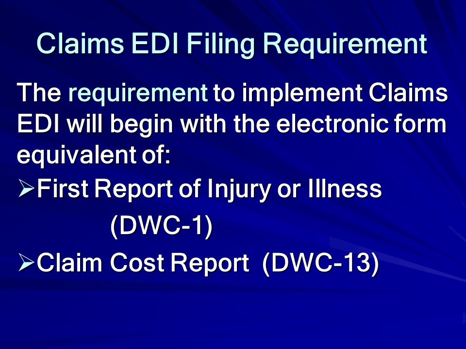 Claims EDI Filing Requirement