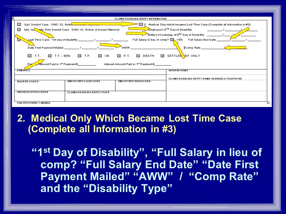 2. Medical Only Which Became Lost Time Case (Complete all Information in #3)