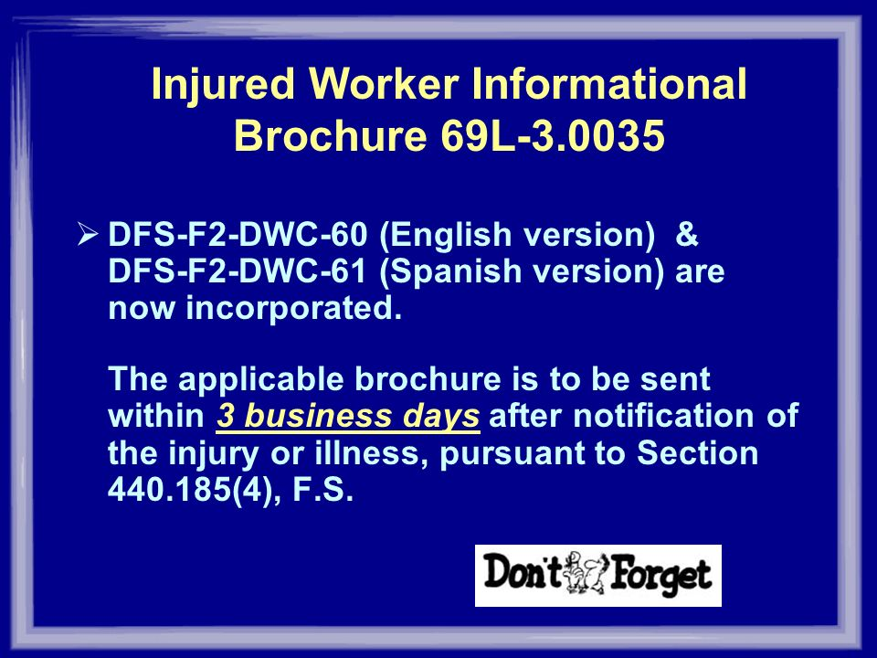 Injured Worker Informational Brochure 69L