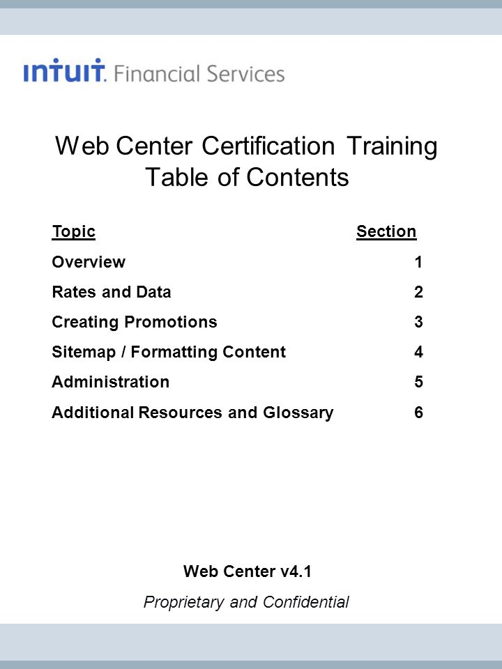 Web Center Certification Training Table of Contents