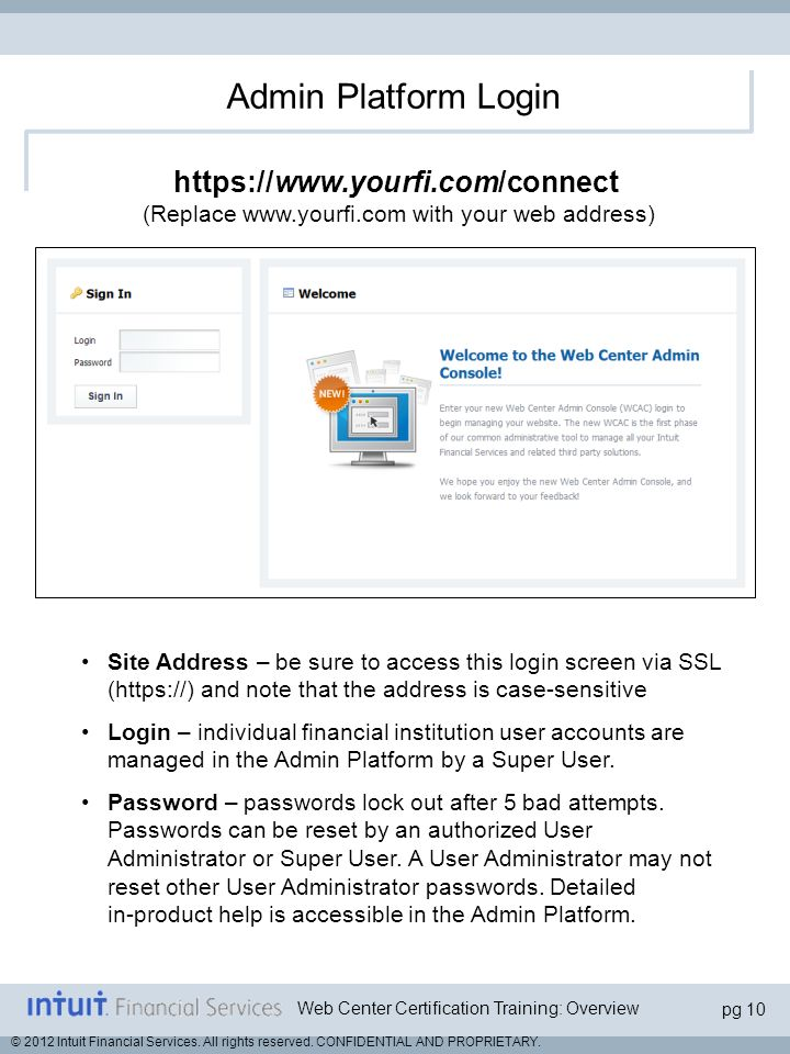 Admin Platform Login   (Replace w​ww.yourfi.com with your web address)