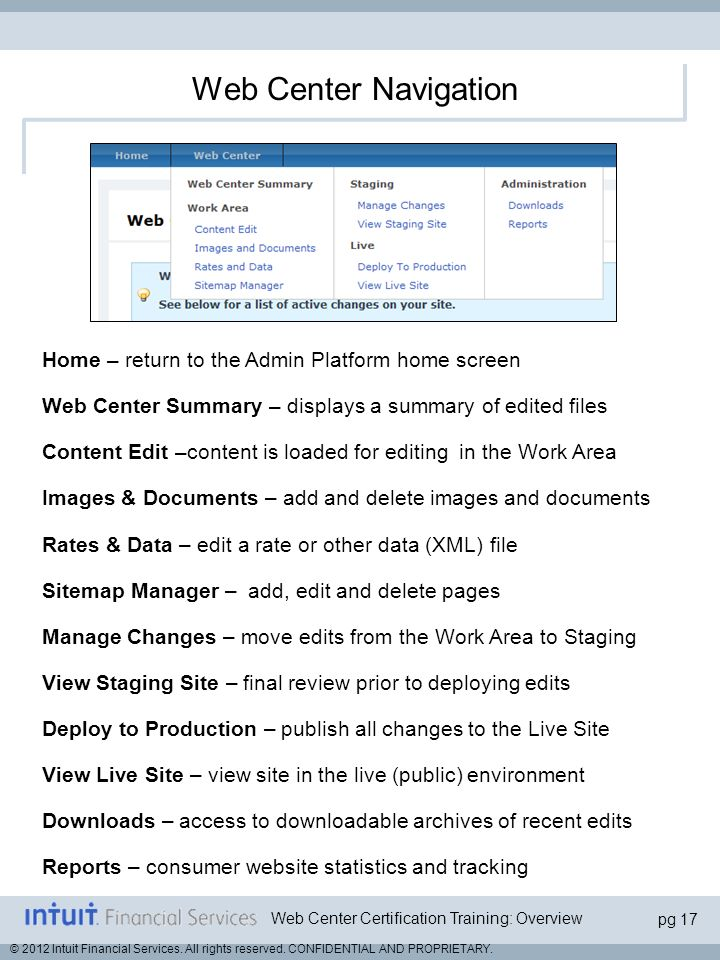 Web Center Navigation Home – return to the Admin Platform home screen