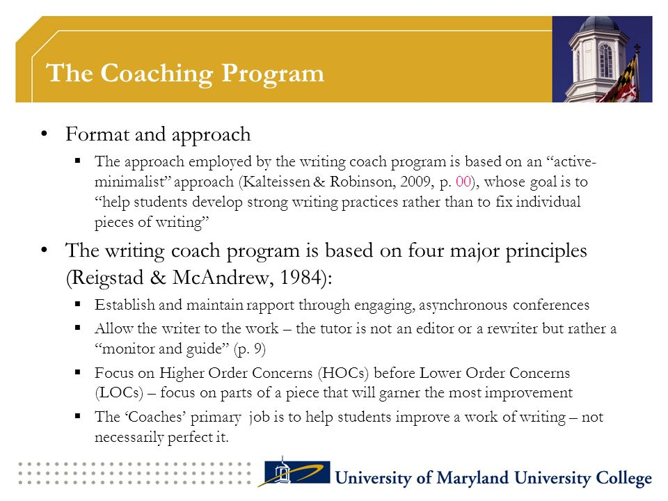 The Coaching Program Format and approach