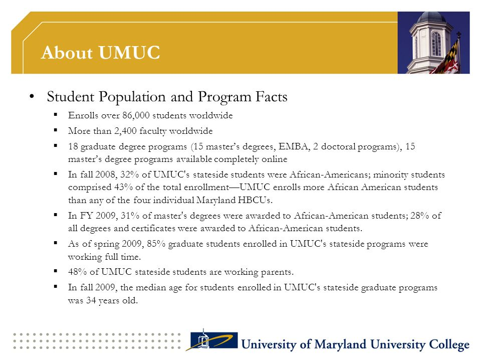 About UMUC Student Population and Program Facts