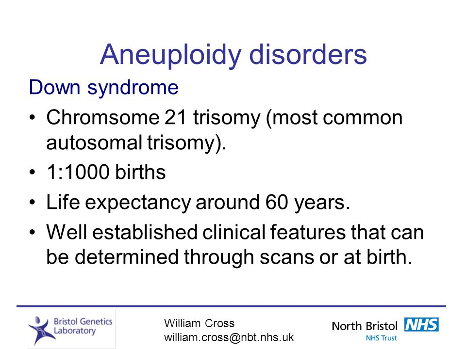 Aneuploidy disorders Down syndrome