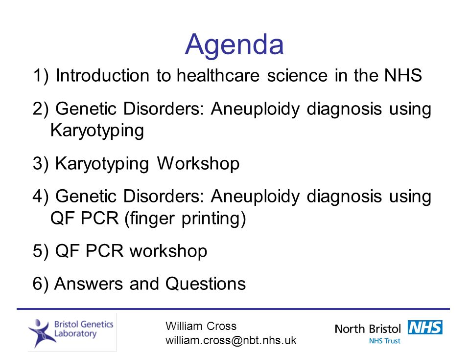 Agenda 1) Introduction to healthcare science in the NHS