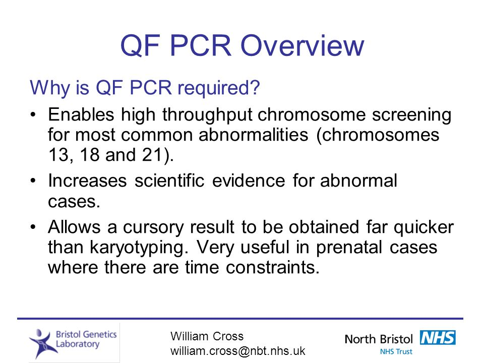 QF PCR Overview Why is QF PCR required