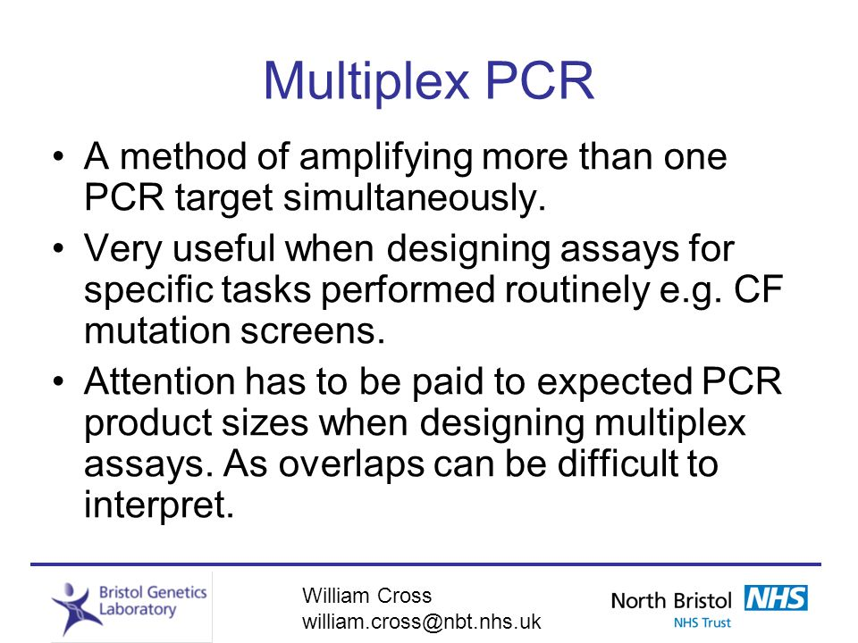 Multiplex PCR A method of amplifying more than one PCR target simultaneously.