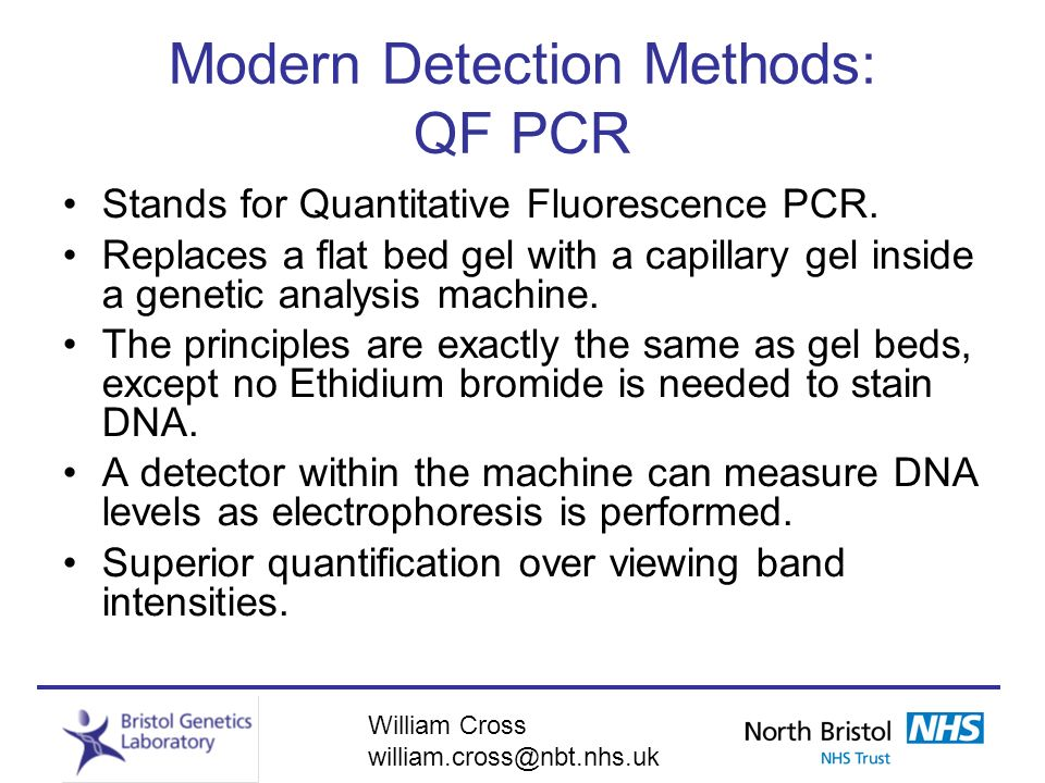 Modern Detection Methods: QF PCR